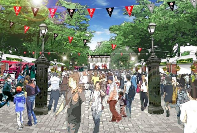 代々木公園のケヤキ並木もジャズストリートとして会場になる(写真はイメージ図)