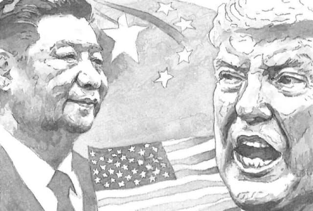 コロナ危機の影響によって、米国と中国の対立は激しさを増している イラスト・よしおか じゅんいち