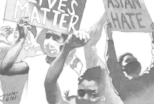 バイデン政権による差別是正の取り組みにも注目が集まる イラスト・よしおか じゅんいち