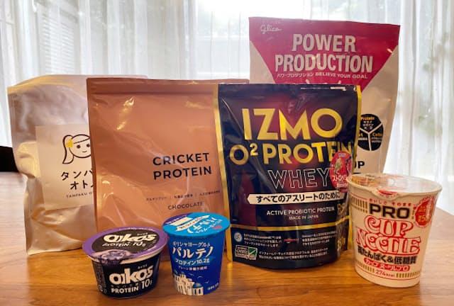 ダイエットに適したもの、筋力や体重増に適したもの、味や原材料が珍しいものなど様々なプロテイン粉末のほか、ヨーグルト、カップ麺など高たんぱく質をうたった商品が増えている
