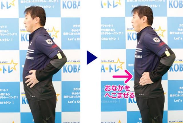 体幹トレーニングで有名な木場克己さんがやっているのは、おなかをへこませる「ドローイン」。通勤途中もデスクワーク中も、これを続ければ体幹が鍛えられるという(写真:村田わかな)
