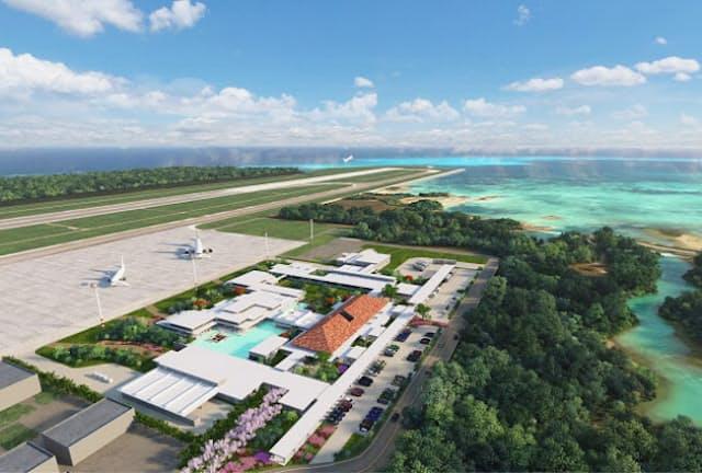 「みやこ下地島空港」。空港からの観光の足は、宮古島とつなぐエアポートバスのほかにレンタカー会社が3社ある