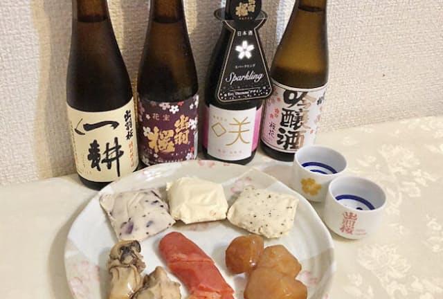 「出羽桜 晩酌セット(酒かすチーズ、薫製)」