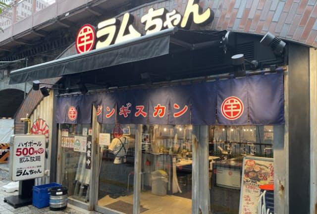 「大衆ジンギスカン酒場ラムちゃん」有楽町店は、JR有楽町駅から東京駅に向かうガード下にある