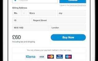 クラーナの決済サービスの画面