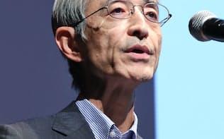 講演する三菱UFJフィナンシャル・グループの平野社長(19日、東京・丸の内)