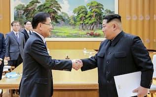 握手を交わす韓国の鄭義溶国家安保室長(左)と北朝鮮の金正恩委員長(5日、平壌)=韓国大統領府提供・共同