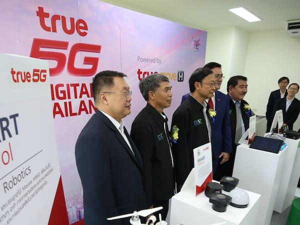 5Gを活用したドローン技術を紹介するトゥルー・コーポレーション(タイ中部チョンブリ県)