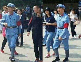 紅軍服で延安を訪れた騰訊控股の馬化騰CEO(左)と京東集団の劉強東CEO(微博から)