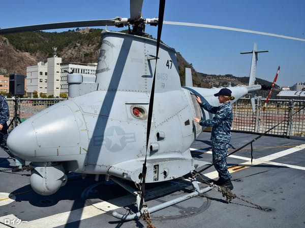 米海軍が配備する無人ヘリ=ロイター