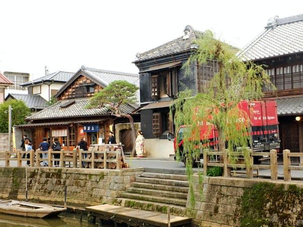 小野川沿いに歴史的町並みが続く