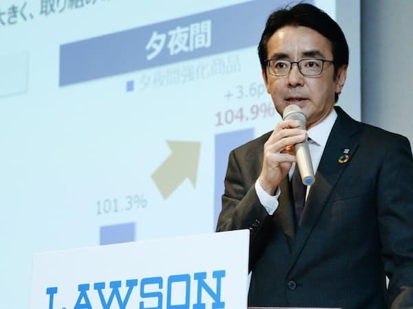 加盟店支援を強調するローソンの竹増社長                                                   (11日、東京都中央区)