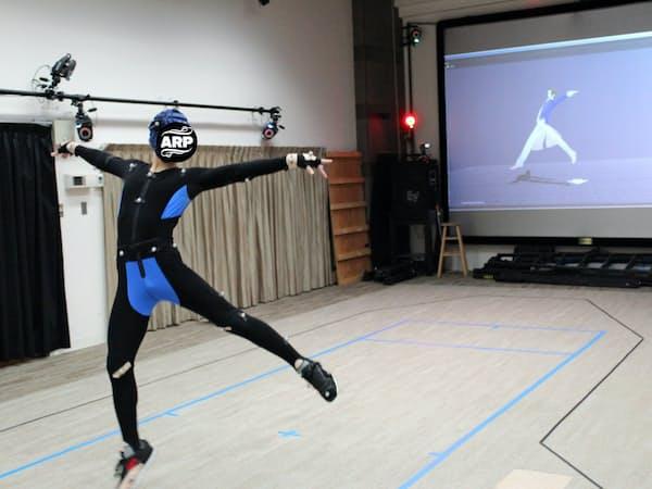 多数のマーカー(印)を着けた踊り手の動きをカメラで捉え、CGのアイドルに反映する