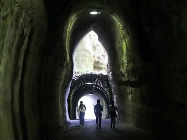 向山トンネルは東側から入ると、反対側の出口が上下2つにみえる