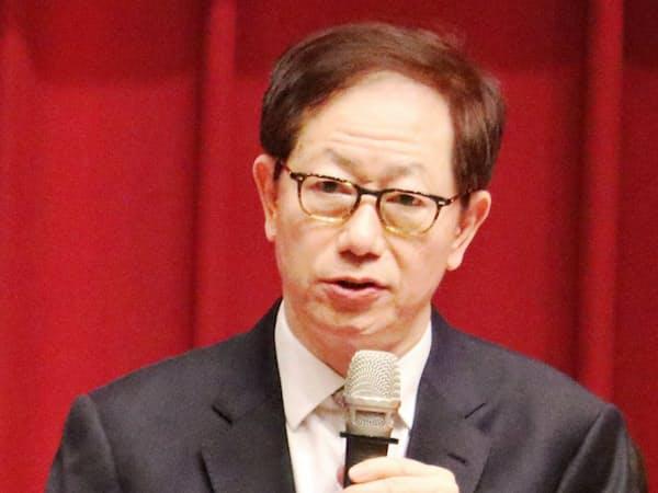 劉董事長は米中貿易戦争に不満を表明した(5日、新竹市内)