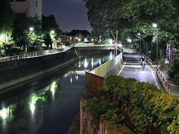 住宅街を流れる真間川。6月の湿り気を含んだ風が吹き抜けた=矢後衛撮影