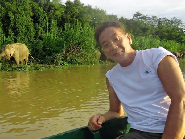 ボルネオに年3~4回訪れて野生動物の保護に取り組んでいる(後方がボルネオゾウ)