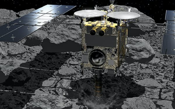 小惑星りゅうぐうに着陸する探査機はやぶさ2の想像図(1度目の着陸)=池下章裕氏・JAXA提供