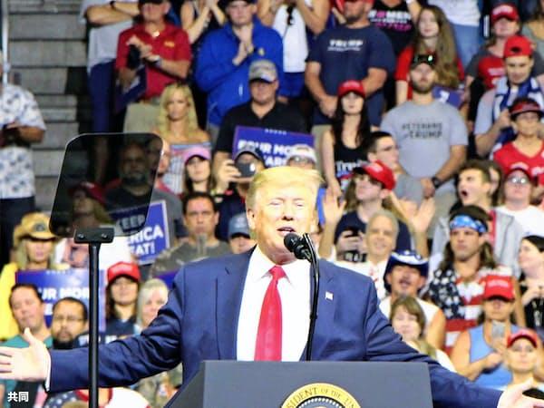 フロリダ州オーランドの大規模集会で、大統領選への再選出馬を表明する米トランプ大統領=共同