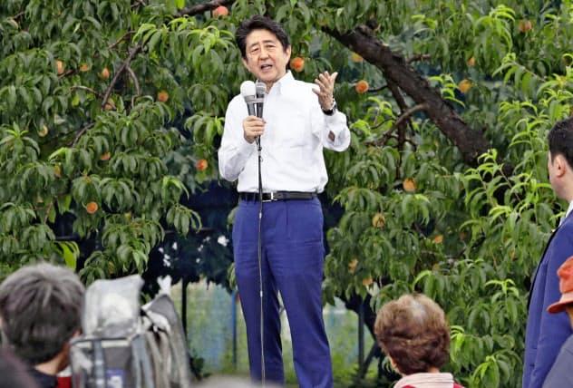 安倍首相は福島市内の果樹園で参院選の第一声を上げた(4日)