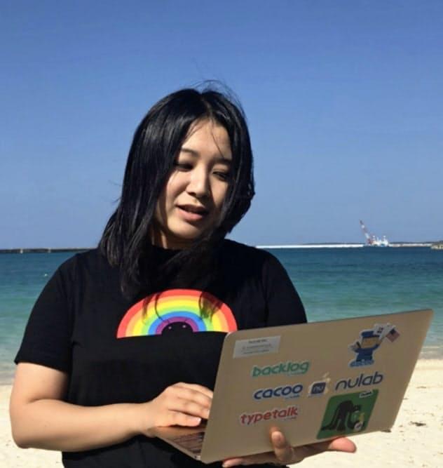 ヌーラボの安立沙耶佳さんは昨年は沖縄県宮古島市で「リゾートワーク」を実践した