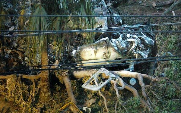 墜落した大型輸送ヘリCH53Dの残骸
