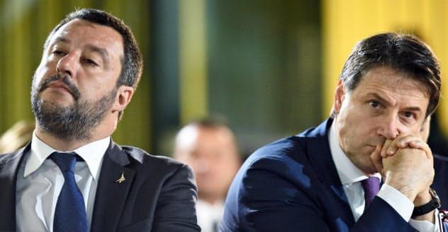 同盟のサルビーニ党首(左)は内閣への不信任案を提出した=ロイター