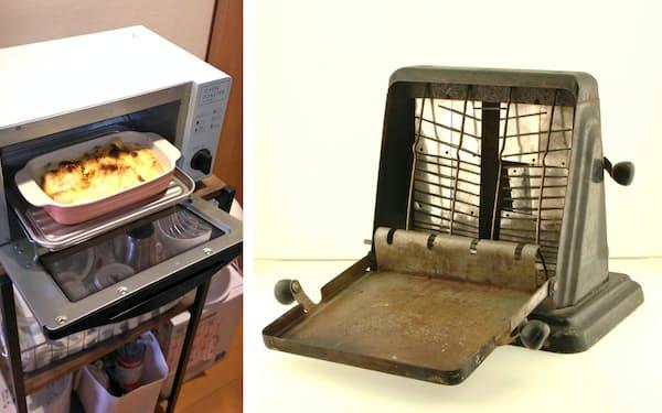 (右)ターンオーバー式トースター(昭和20~30年代使用)=北名古屋市歴史民俗資料館提供                                                   (左)冷凍食品も調理可能なオーブントースター