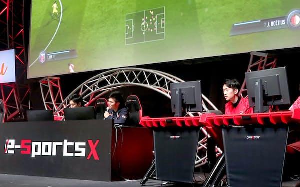 ゲームショウではeスポーツの大会も開かれる(写真は2018年の国際親善マッチ)