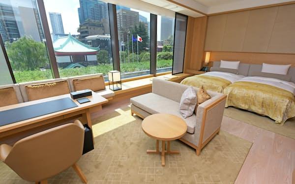 ヘリテージの標準客室面積は60平方メートルと他の高級ホテルより広い(東京都港区)