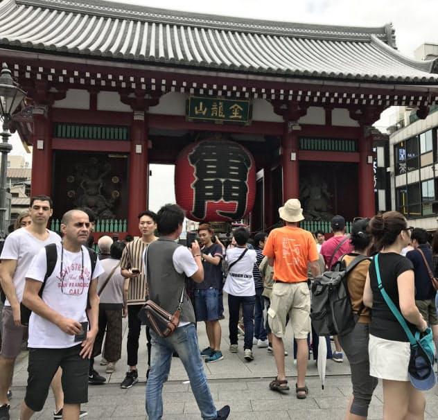 訪日客でにぎわう浅草は上昇率が大幅に拡大(東京都台東区)