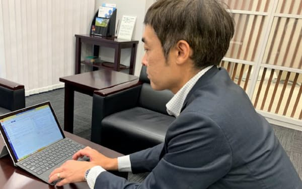 グループウェアで予定や社内会議の内容もすぐわかる(東京都中央区の北国銀行東京支店)