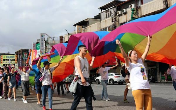 LGBTへの理解を訴えるパレード(9月28日、東部・花蓮)