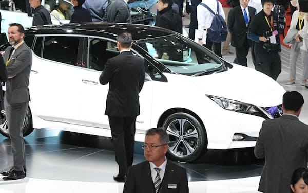 自動車メーカーの出展は減少が続く(写真は前回の2017年)