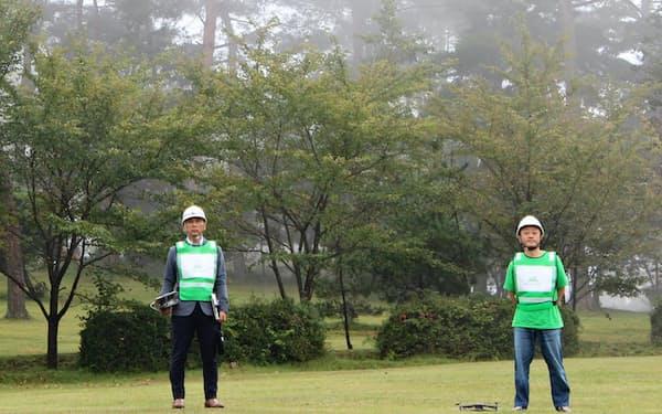 災害時支援サービスの提供を目指すパーソルHDの試験運転の様子(広島県神石高原町)