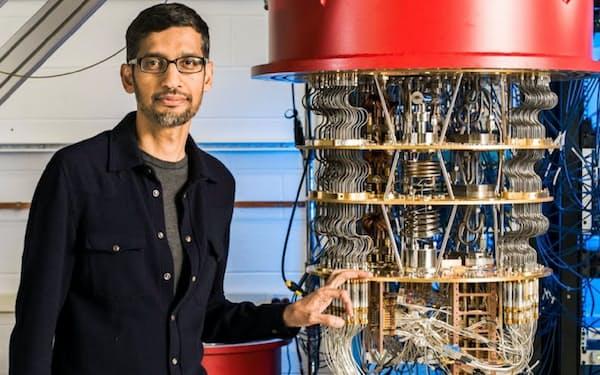 米グーグルの量子コンピューターとピチャイ最高経営責任者=同社提供