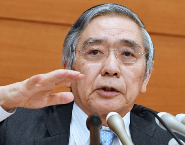 金融政策決定会合後、記者会見する日銀の黒田総裁(31日、日銀本店)
