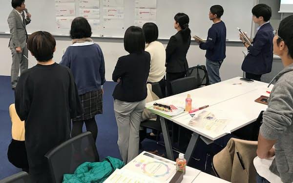 グループワークでテーマについての考え方や課題を発表する受講者たち(緊急人道支援講座)
