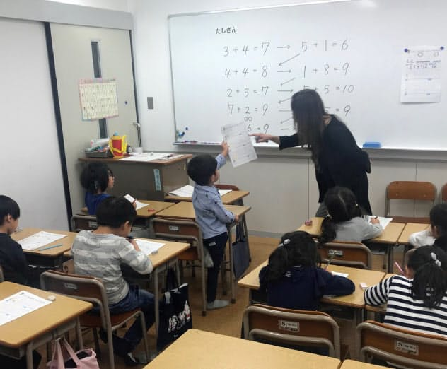 来春に小学校入学を控えた子供たちが足し算を習う(四谷大塚の「新1年生入学準備講座」)