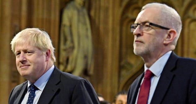 ジョンソン英首相(左)と労働党のコービン党首=ロイター