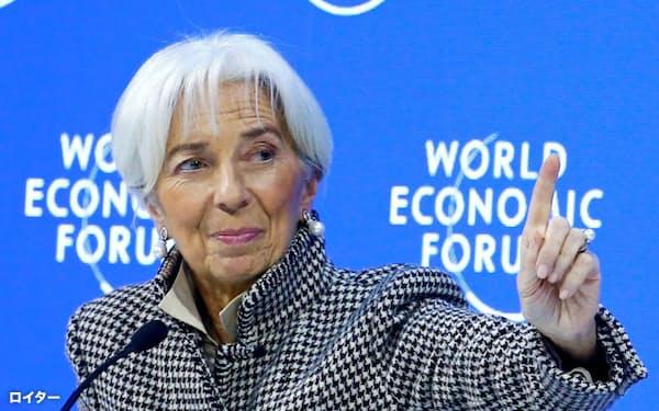 1月のダボス会議に登壇した国際通貨基金のラガルド専務理事(当時)=ロイター
