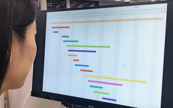 「ガントチャート」で長期的に仕事を管理することができる(「Jooto」の画面)