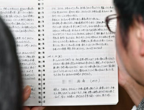 中絶を決断した当時の日記(笹津敏暉撮影) =一部画像処理しています