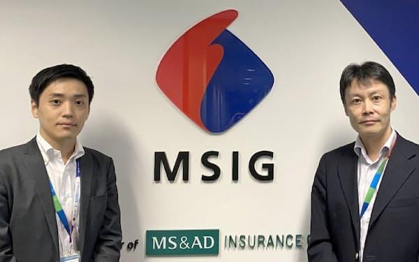 宮津氏(右)はシンガポールで新たな保険サービスを模索する