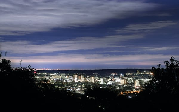 一家が空飛ぶ円盤の出現を待った羅漢山(天覧山)展望台。眼下に街の明かりがきらめく=塩田信義撮影