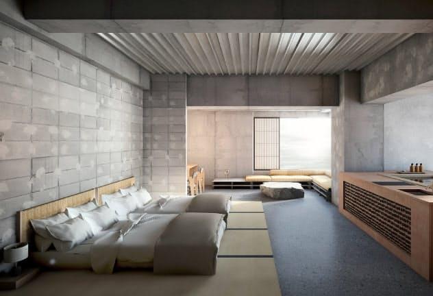 松本十帖内のホテル「松本屋」の客室イメージ。全室に露天風呂を備える(写真上)。書店の館内イメージ(同下)