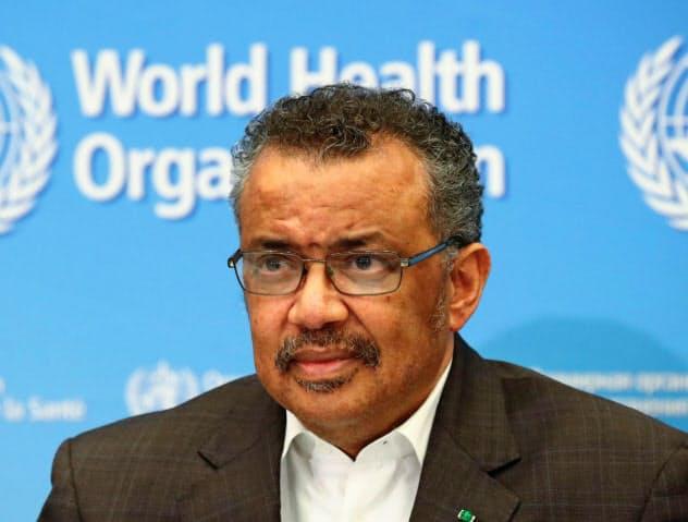WHOの緊急委員会の協議を受け、記者会見するテドロス事務局長(30日、ジュネーブ)=ロイター