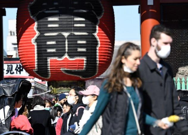 マスクをつけて観光する人たち (東京・浅草)