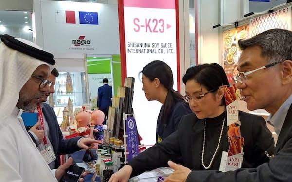 ドバイの総合食品見本市では「あんぽ柿」に関心が集まった