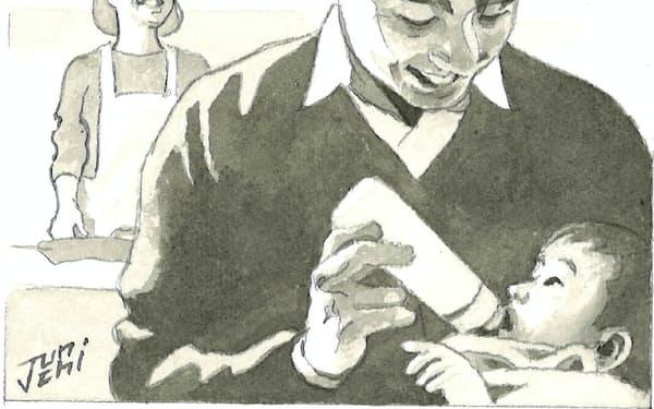 まず大事なのは、一人では重すぎる子育ての負担を分担することだ                                                   イラスト・よしおか じゅんいち